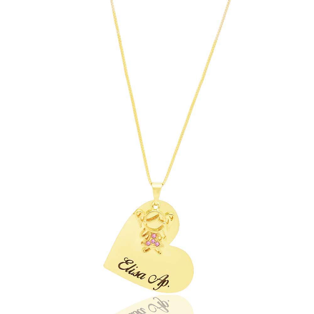 Colar Personalizados Coração Nome Filho ou Filha Folheado A Ouro 18k