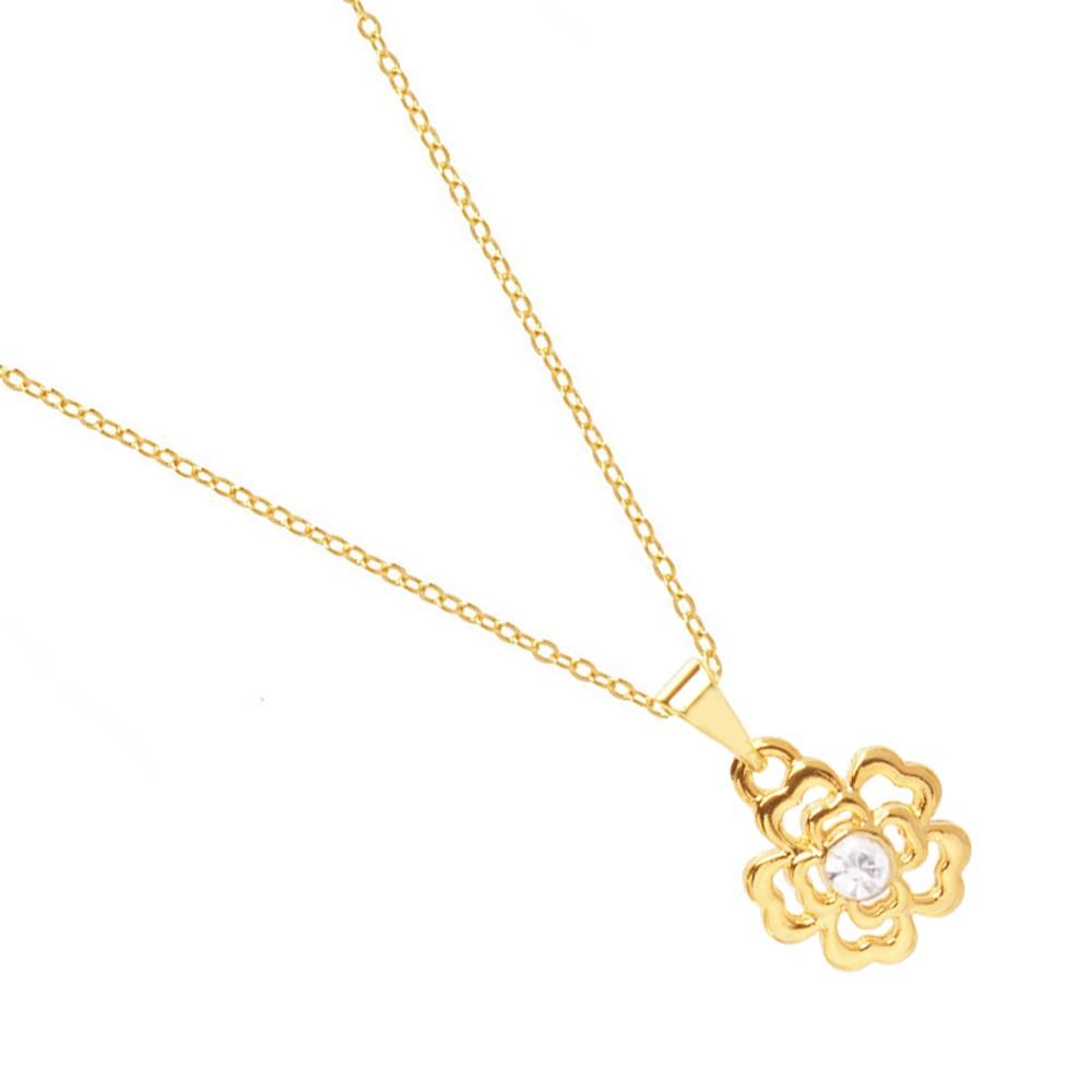 Colar Pingente Flower Flor Vazado Folheado A Ouro