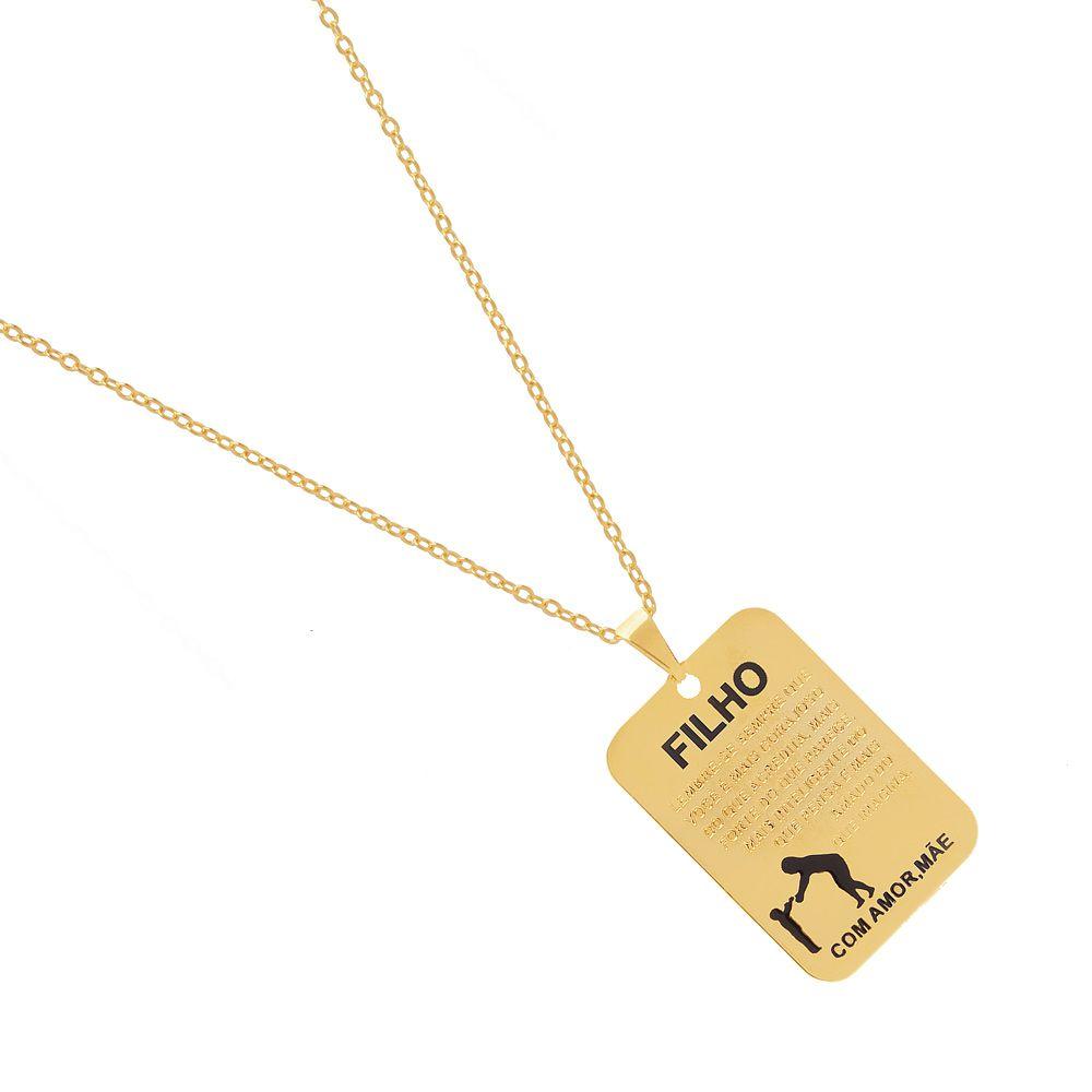 Colar Pingente Personalizado Presente Nunca Se Esqueça Que Eu Te Amo Folheado A Ouro