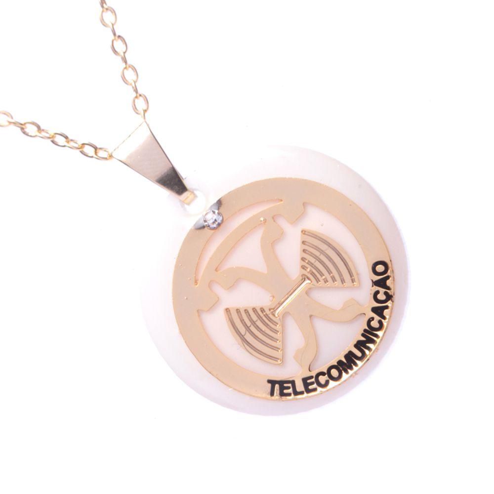 Colar Pingente Profisssão Telecomunicação Folheado A Ouro 18k
