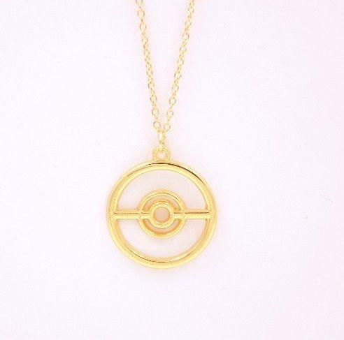 Colar Pokemon Go Pokebola Folheado A Ouro 18k