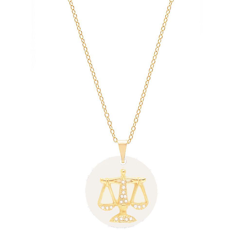 Colar Profissão Direito Advogada Justiça Folheado A Ouro