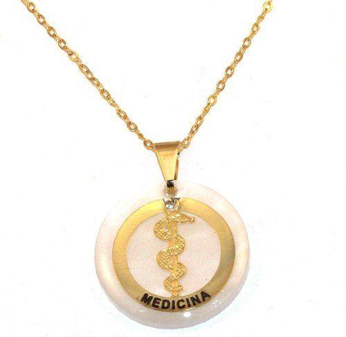 Colar Profissão Medicina Medicos Saúde Folheado Ouro 18k