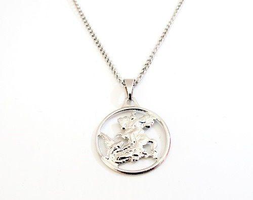 Colar Sao Jorge Medalha Vazada Aço Inox De 60 Cm