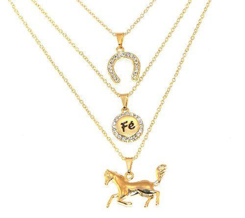 Colar Triplo Country Cavalo Ferradura Fé Folheado Ouro