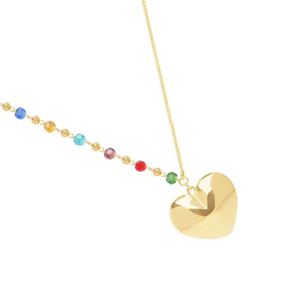 Colar Veneziana E Miçangas Cristais Coloridas Com Bolinhas E Coração Folheado A Ouro 18K