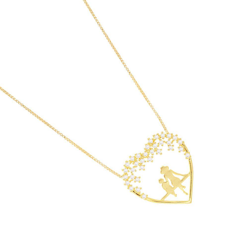 Colar Veneziana Mãe E Filho(a) Com Pedras De Zirconia Folheado A Ouro