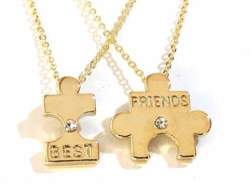 Colares Amizade Leal Quebra Cabeça B31 Folheado Ouro 18k