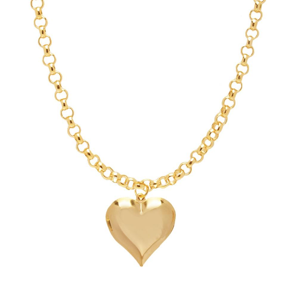 Conjunto Choker e Pulseira Coração Chapa Folheado A Ouro