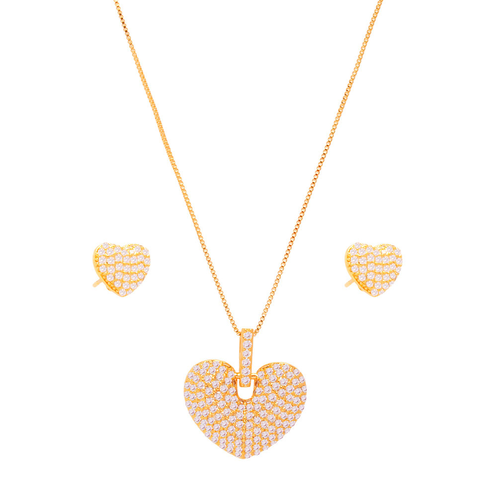 Conjunto colar e brinco coração micro zircônias folheado em ouro 18k