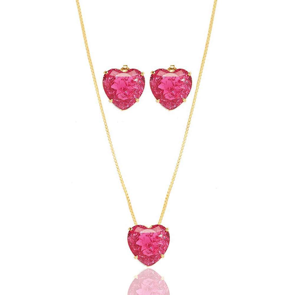 Conjunto Colar E Brinco Coração Pequeno Pedra Fusion Pink Folheado A Ouro