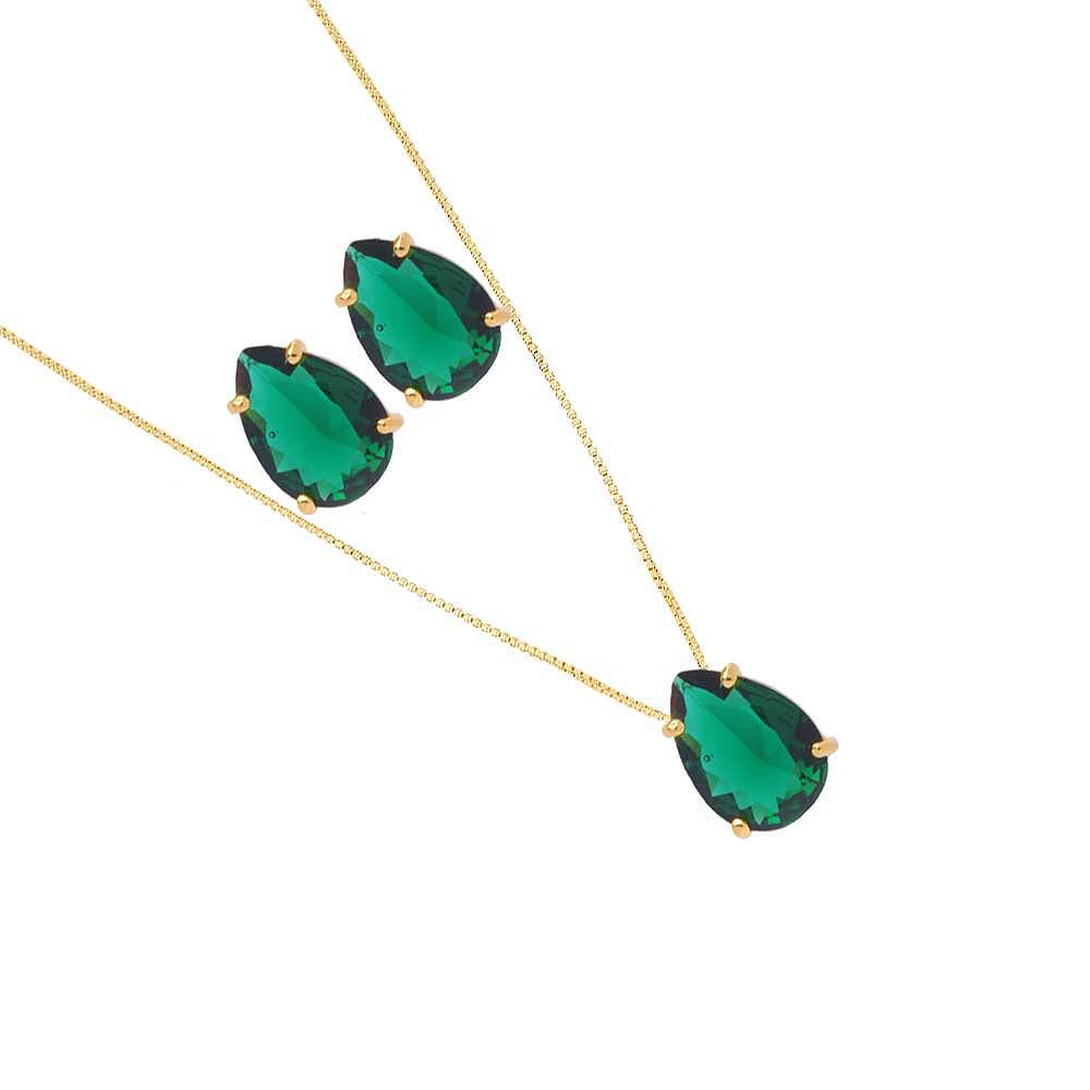 Conjunto Colar E Brinco De Gota Pedra Fusion Verde Folheado A Ouro