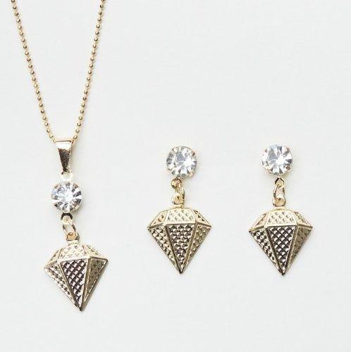 Conjunto Colar E Brinco Diamante Com Ponto Luz Folheado Ouro
