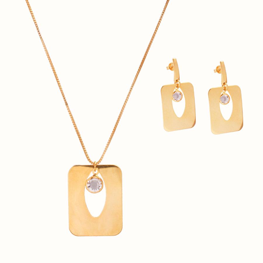 Conjunto Colar e Brinco Geométrico Com Cristal Folheado A Ouro 18k