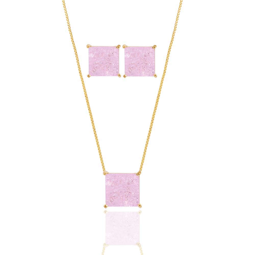Conjunto Colar E Brinco Quadrado Pedra Fusion Rosa Claro Folheado A Ouro