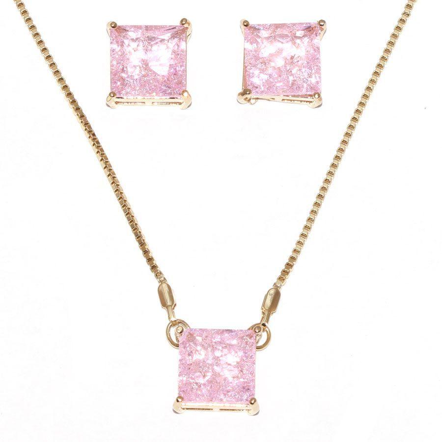 Conjunto de Colar  Brinco Quadrado Pedra Fusion Rosa Claro Folheado Ouro