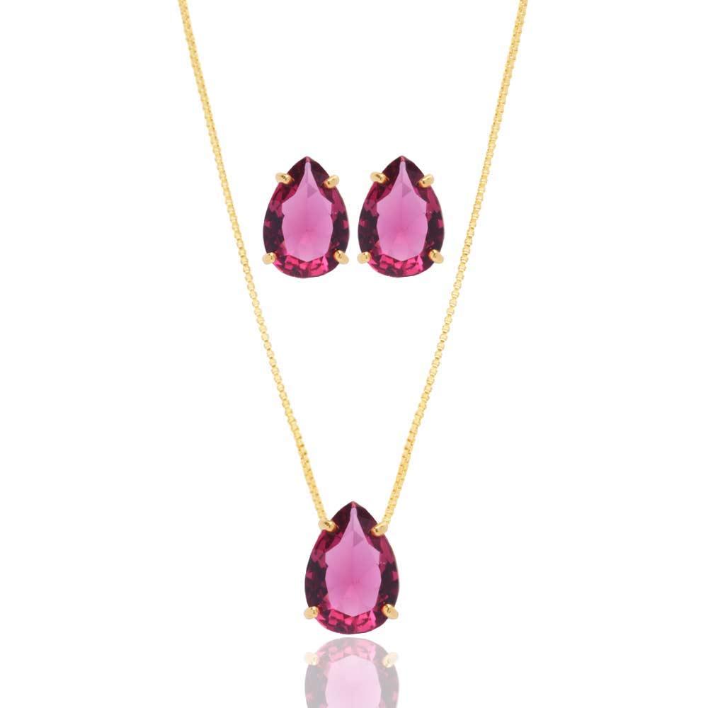 Conjunto de Colar E Binco de Gota Pedra Fusion Pink Folheado A Ouro
