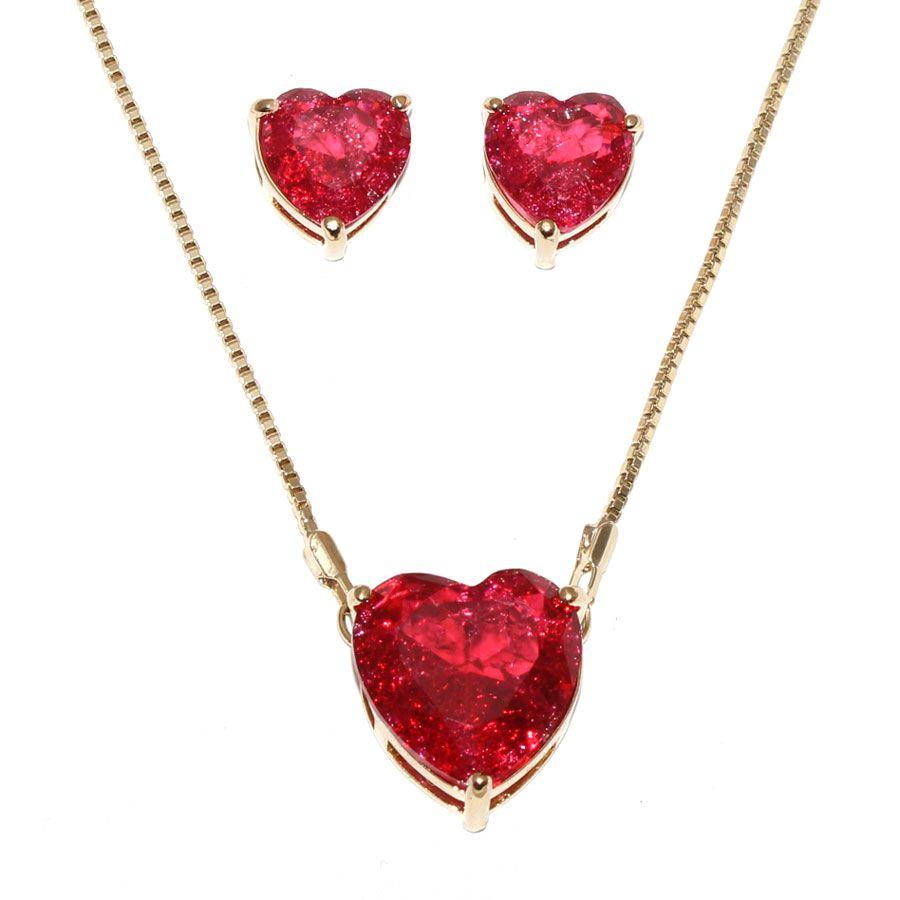 Conjunto de Colar E Brinco Coração Pequeno Pedra Fusion Pink Folheado Ouro