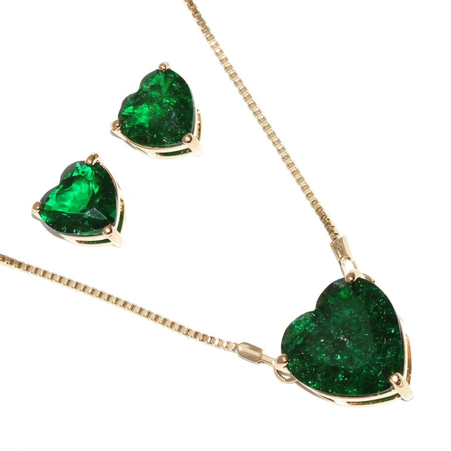 Conjunto de Colar E Brinco de Coração Pedra Fusion Verde Folheado Ouro