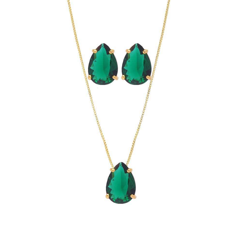Conjunto de Colar E Brinco de Gota Pedra Fusion Verde Folheado Ouro