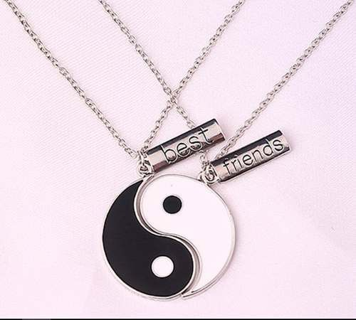 Conjunto Dois Colares Yin Yang Alma Gêmea Melhores Amigos