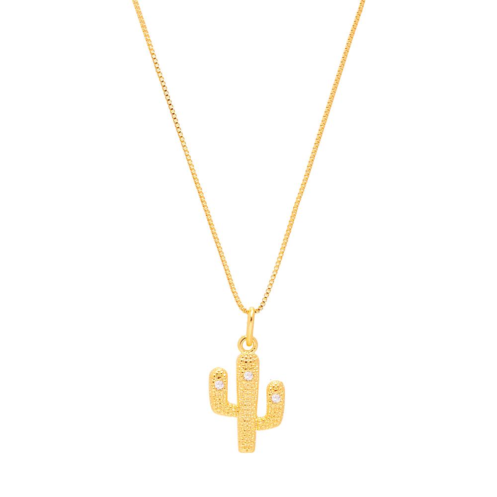 Conjunto Juliete BBB Cactos com zirônia Folheado em ouro 18k