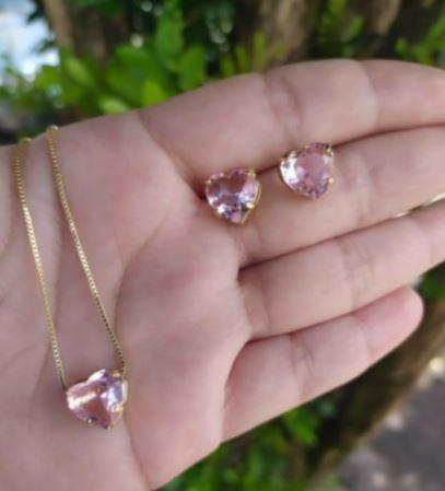 Conjunto Pulseira Gravatinha Coração Pequeno + Brincos