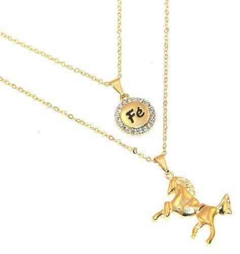 Cordão Duplo Cavalo Country Medalha Fé Folheado A Ouro 18k