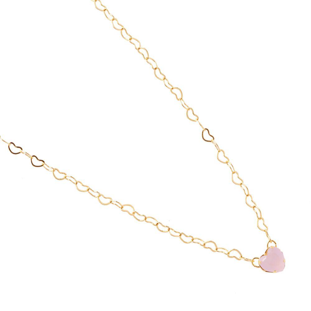 Corrente Choker De Coração Com Pedra Coração Rosa Folheado  A Ouro 18k
