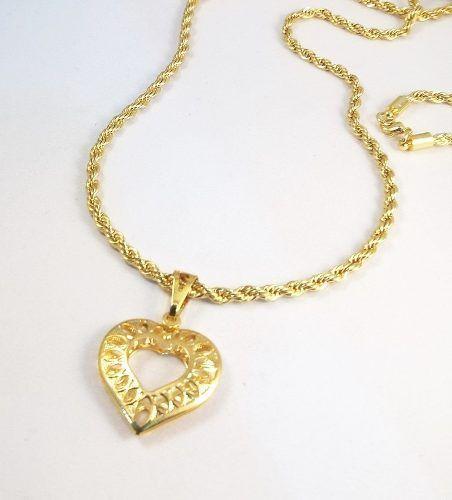 Corrente Cordão Baiano Torcida Folheada A Ouro Com Coração