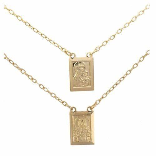 Escapulário Nossa Senhora Do Carmo Jesus Folheada A Ouro