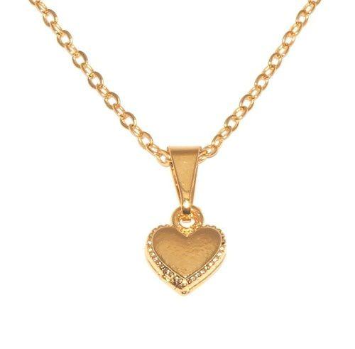 Gargantilha Colar Coração Pequeno Folheado A Ouro 18k