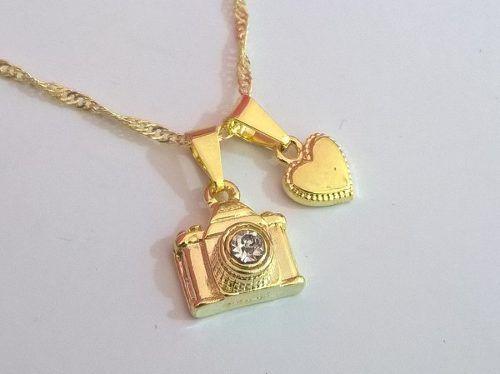 Gargantilha Colar Fotografia Coração Folheado A Ouro 18k