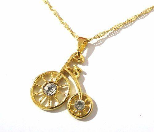 Gargantilha Colar Minha Bicicleta Predileta Folheado A Ouro.