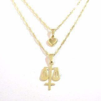 Gargantilha Dupla Simbolo Direito Justiça Folheado Ouro 18k