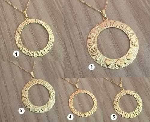 Kit Revenda Atacado 10 Colares Mandala Folheadas Ouro 18k