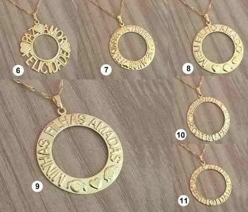 Kit Revenda Atacado 14 Colares Mandala Folheadas Ouro 18k