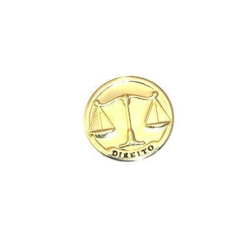 Pin Bottom Broche Medalha Direito Advogado Leis Folheado