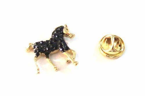 Pin Botton Broche Cavalo Negro Lindo Folheado A Ouro.