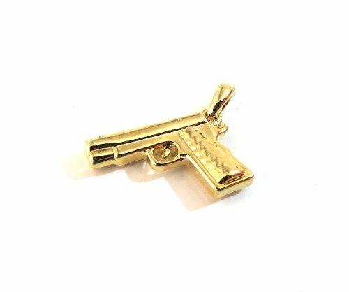 Pingente Arma Glock Revolver Automático Folheado Ouro