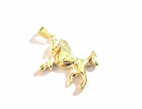 Pingente Cavalo Domado Lindo Folheado A Ouro.