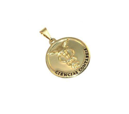 Pingente Medalha Contabilidade Contábeis Folheado Ouro 18k