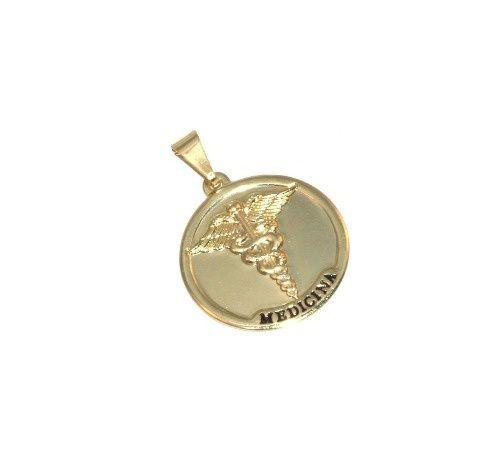 Pingente Medalha De Medicina Medico Folheado A Ouro 18k