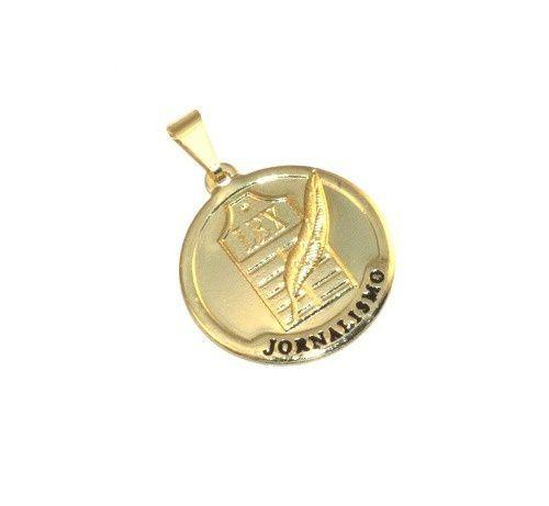 Pingente Medalha Jornalismo Folheado Ouro 18k