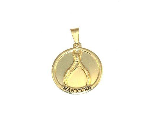 Pingente Medalha Manicure Alicate De Unha Folheado Ouro 18k
