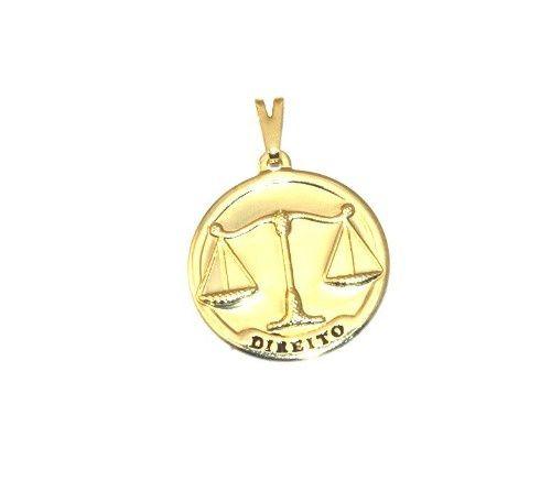 Pingente Medalha Profissão Direito Advogado Folheado Ouro