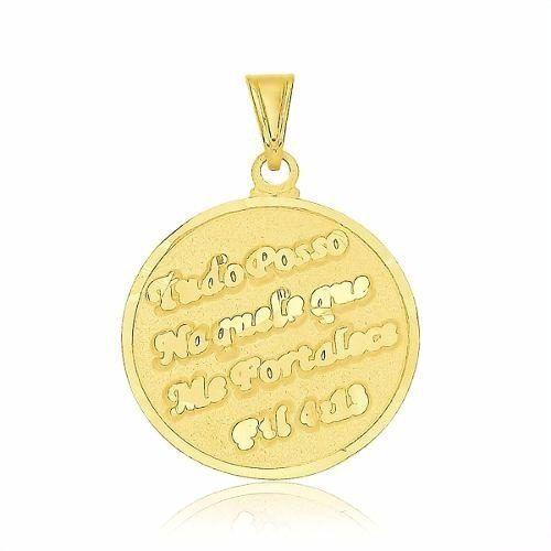 Pingente Medalha Tudo Posso Naquele Que Me Fortalece.