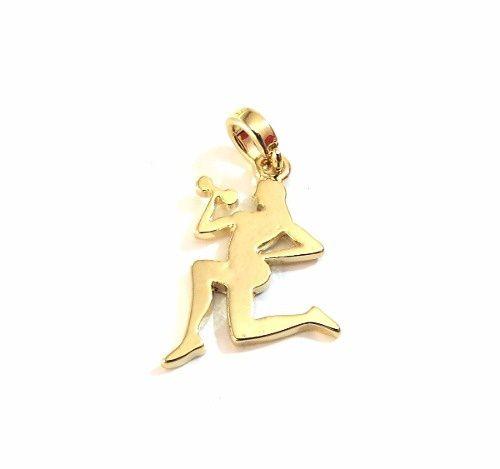 Pingente Menina Fitness Academia Pilates Folheado Ouro 18k