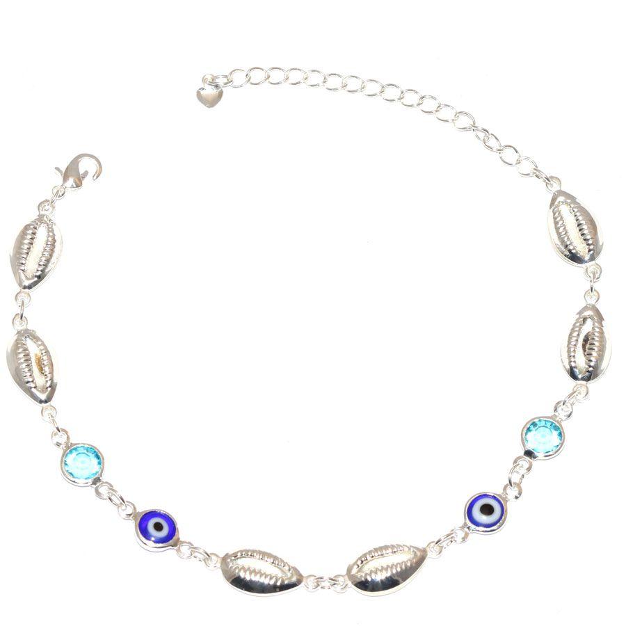 Pulseira Búzios Olho Grego Com Pedra Azul Folheado A Prata