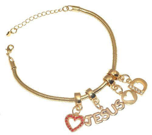 Pulseira Com Berloques Jesus Iniciais Coração Folheado Ouro